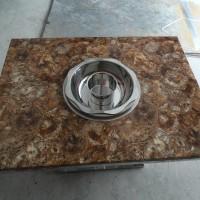 不锈钢桌架大理石桌面火锅桌